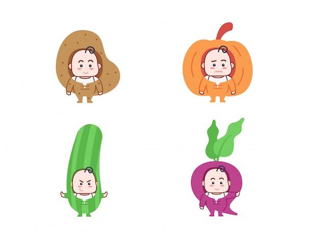Bambino carino con personaggio in costume di verdure