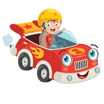Bambino che corre con auto divertente