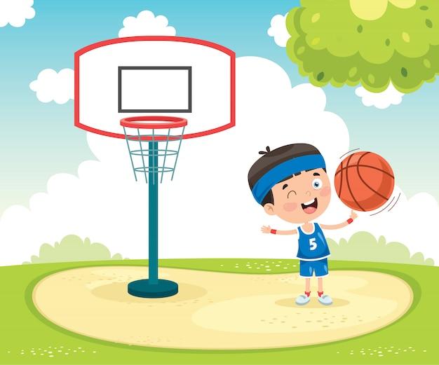 Bambino che gioca a basket al di fuori