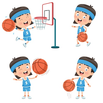Bambino che gioca a basket set