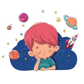 Bambino che immagina e sogna pianeti, razzi, spazio