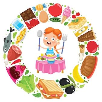 Bambino che mangia cibo delizioso