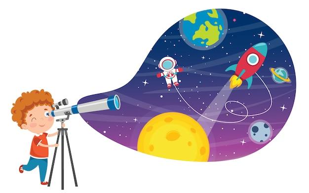 Bambino che utilizza il telescopio per la ricerca astronomica