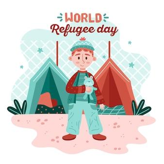 Bambino che vive nel giorno del rifugiato disegnato a mano tenda
