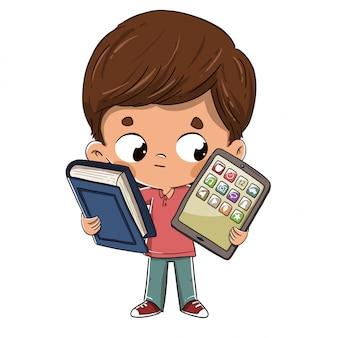 Bambino con un tablet e un libro
