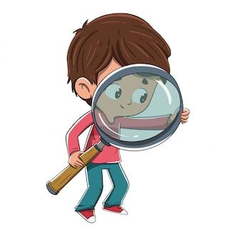 Bambino con una lente di ingrandimento in cerca di qualcosa