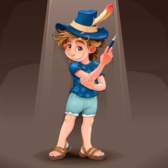 Bambino del mago con cappello blu