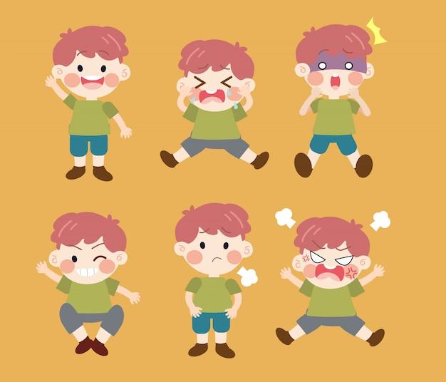 Bambino di carattere cartoon con emozioni