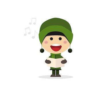 Bambino di natale che canta i canti natalizi su una priorità bassa bianca