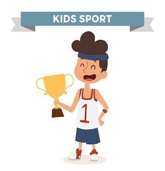 Bambino di pallacanestro di professione di vettore sveglio del fumetto con il premio