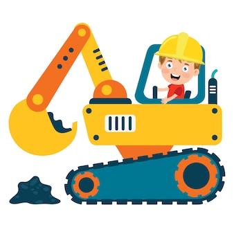 Bambino divertente che usando la macchina dell'escavatore