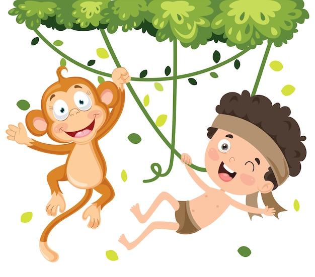 Bambino felice che oscilla con la scimmia nella giungla