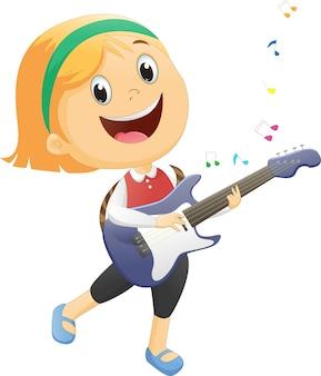 Bambino felice che suona la chitarra