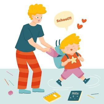 Bambino felice che va a scuola con i suoi genitori