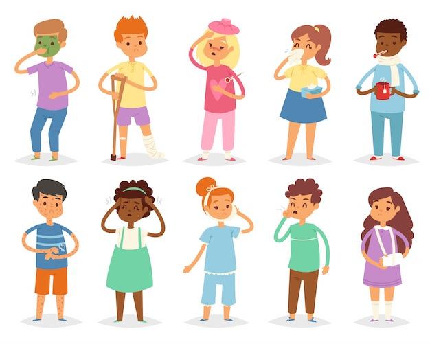 Bambino malato dei bambini con l'emicrania e la temperatura e bambini che prendono un insieme dell'illustrazione di influenza o di raffreddore della malattia o della malattia isolato su fondo bianco