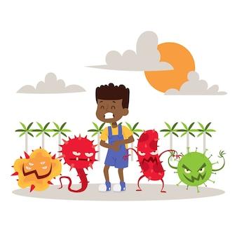 Bambino malato, malato con illustrazione vettoriale di microbi. virus dei cartoni animati. microrganismi nocivi per i bambini. batteri. mostri con bambino. varie malattie