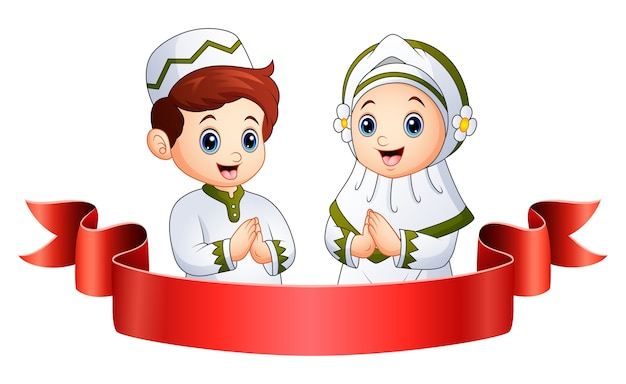 Bambino musulmano saluto con nastro rosso