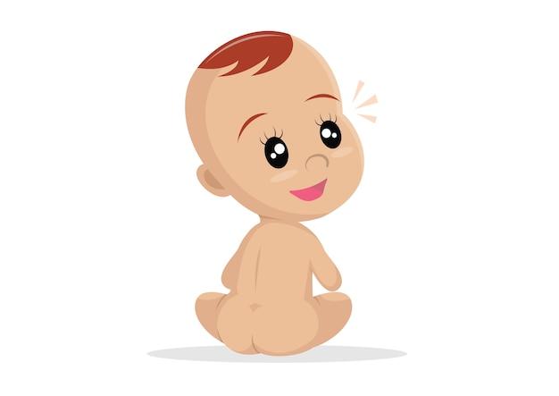 Bambino nudo seduto indietro.