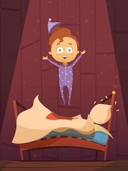 Bambino prescolare del fumetto indisciplinato in pigiami che saltano sulla retro illustrazione piana di vettore del letto disfatto