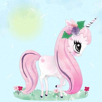 Bambino simpatico personaggio unicorno dipinto con acquerello
