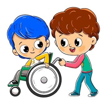 Bambino su una sedia a rotelle con il suo amico o fratello