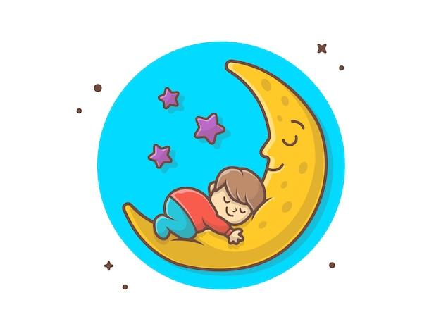 Bambino sveglio che dorme sull'illustrazione dell'icona di vettore della luna