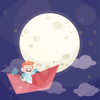 Bambino sveglio gioca aereo di carta con la luna piena