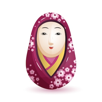 Bambola giapponese Onna Daruma in kimono viola.
