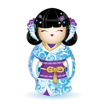 Bambola kokeshi in kimono blu con motivo a onde marini.