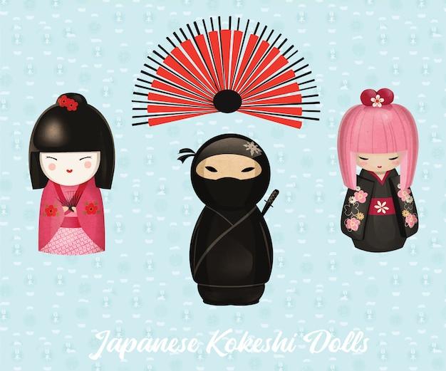 Bambole giapponesi kokeshi