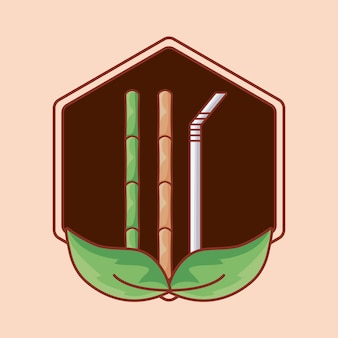 Bambù e paglia in cornice con foglie