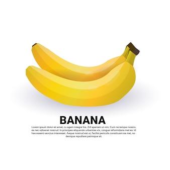 Banana su sfondo bianco, stile di vita sano o concetto di dieta, logo per frutta fresca