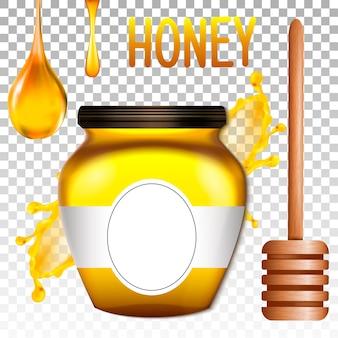 Banca 3d realistica di miele.