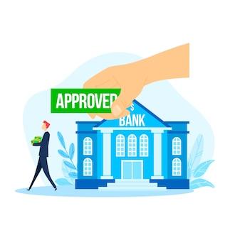 Banca approvato uomo d'affari di credito, illustrazione. prestito di denaro di successo per persone finanziano investimenti, mutui e concetto di contratto.