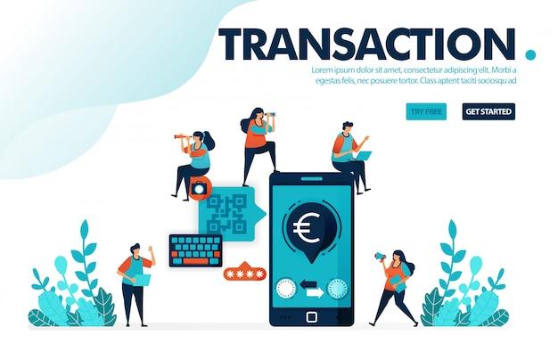 Banca mobile sicura, pagamento sicuro con il sistema cashless mobile di codice qr