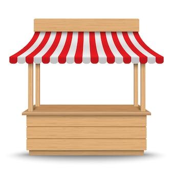 Bancarella del mercato in legno