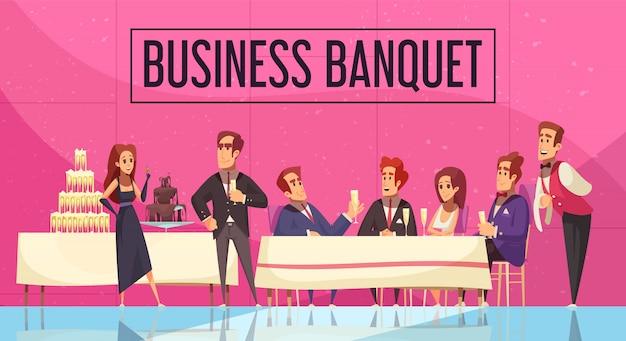 Banchetto di affari con la comunicazione del personale e degli ospiti della società sul fumetto rosa del fondo della parete