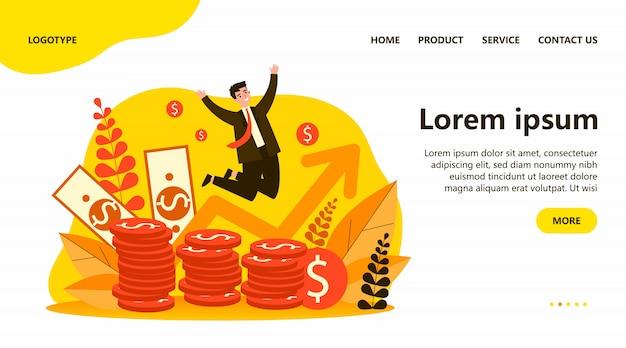 Banchiere felice che salta sopra le monete