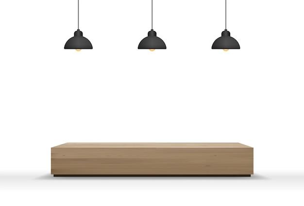 Banco di legno e lampadina isolata su fondo bianco con ombra molle.