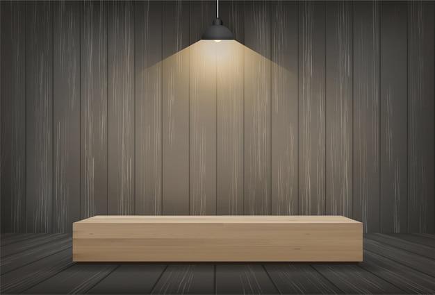 Banco di legno nel fondo dello spazio della stanza scura.