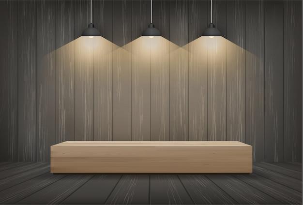 Banco di legno nella priorità bassa dello spazio della stanza scura con la lampadina.
