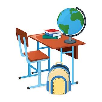 Banco di scuola con libro di testo, zaino scuola e globo
