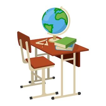 Banco scuola con materiale scolastico. elemento di design isolato. illustrazione del fumetto vettoriale.