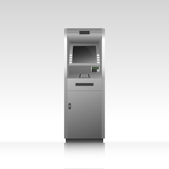 Bancomat bancomat con riflessione, chiosco per prelevare denaro