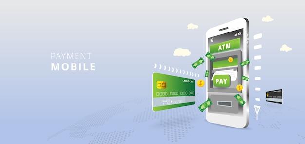 Bancomat sullo schermo dello smartphone. attività bancarie mobili e concetto di pagamento online sul fondo della mappa di mondo. illustrazione