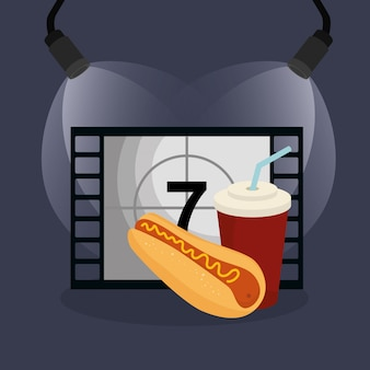 Bancone del cinema con icone