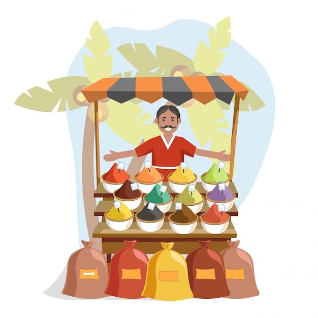 Bancone in legno con spezie esotiche e venditore amichevole
