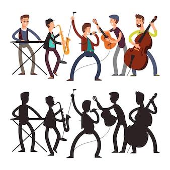 Band di musica pop maschile che suona musica. illustrazione vettoriale di personaggio dei cartoni animati e silhouette