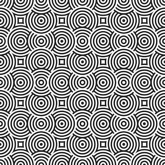 Banda geometrica del fondo dell'estratto del modello di sovrapposizione del cerchio senza cuciture in bianco e nero.