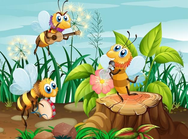 Banda musicale ape che suona in natura